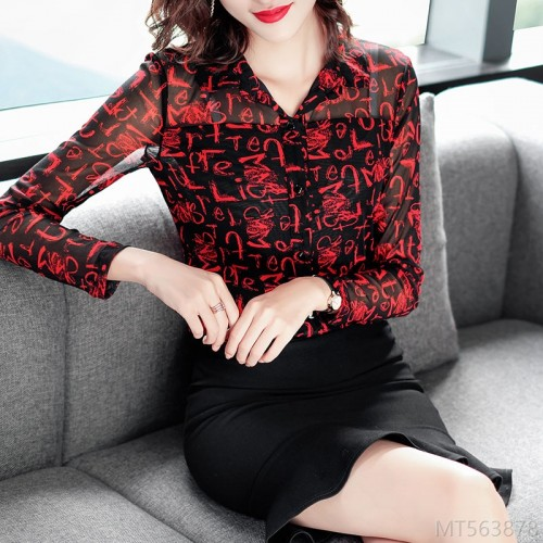 2020 new all-match new product autumn V-neck printed top