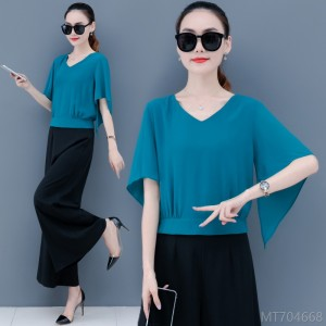 2020 new fashion summer outfit with wide-leg pants, western style pinched waist