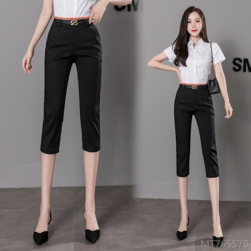 2020 new professional OL cropped trousers women show thin black lead