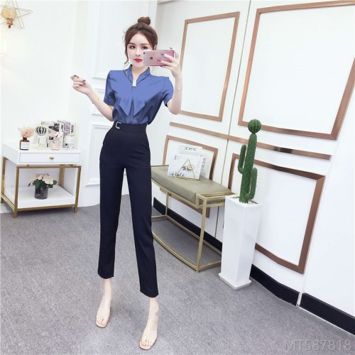 2020 New Temperament Bowknot Hot Rhinestone Loose Satin Shirt + High Waist Feet