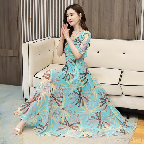 2020 new waist chiffon large swing dress beach skirt holiday dress