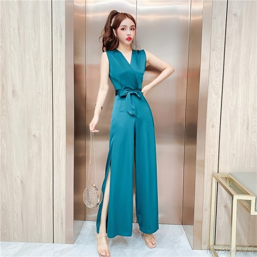 2020 new temperament V-neck high-end satin slit wide leg pants jumpsuit