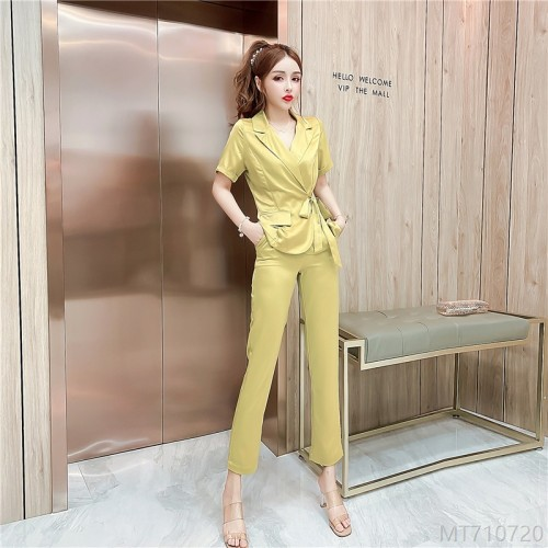 2020 new waist top + nine-point pants suit fashion suit