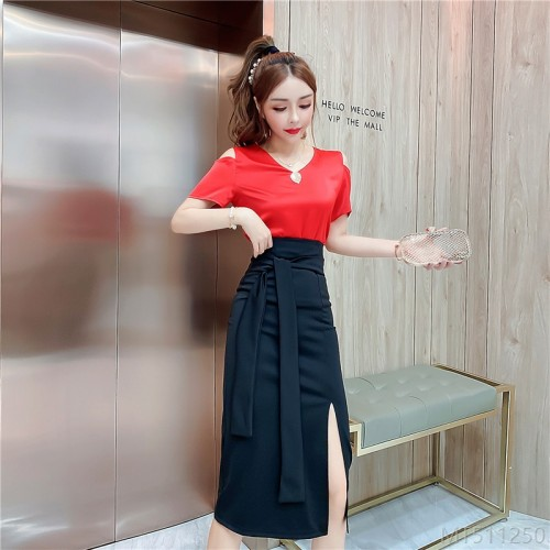 2020 new round neck loose shirt + high waist split skirt suit