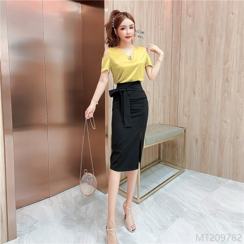 2020 new loose shirt + high-waist split-length skirt suit