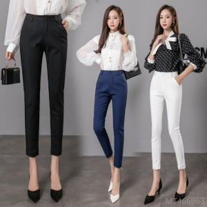 2020 new high waist suit pants women's feet pants nine points straight loose casual