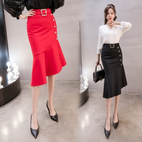 2020 new gold waist buckle decorative fishtail skirt women's skirt
