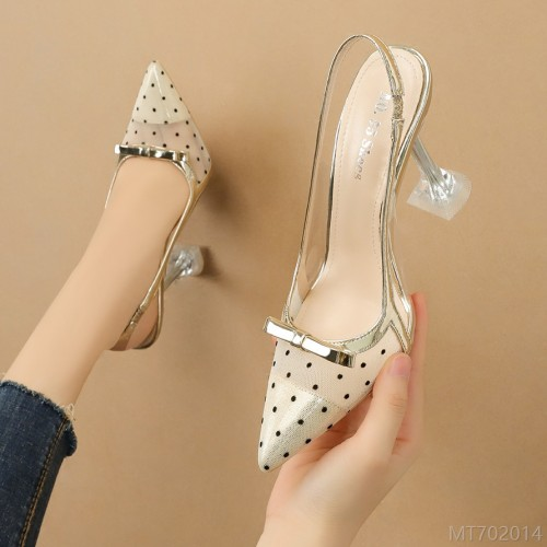 2020 new Korean fashion pointed toe polka-dot high heels