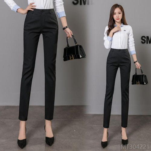 2020 new trousers slim fit pants black professional straight leg pants