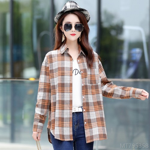 2020 new ladies long-sleeved Korean plaid shirt
