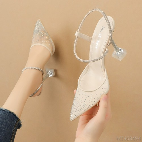 2020 new rhinestone high heel sandals nightclub slim women's shoes