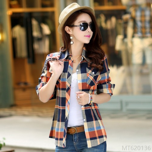2020 new shirt Korean cotton long-sleeved plaid shirt shirt