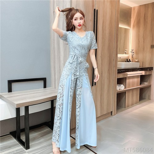 2020 new lace stitching chiffon wide-leg pants jumpsuit