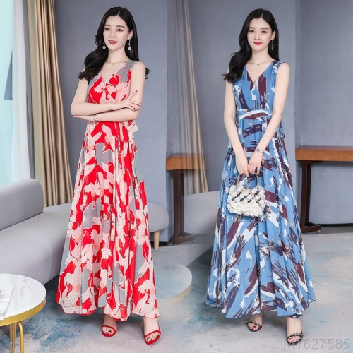 2020 new holiday slim dress, long skirt, all-match loose