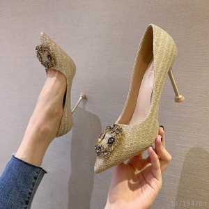 2020 new European and American sexy pointed shallow mouth high heels rhinestones