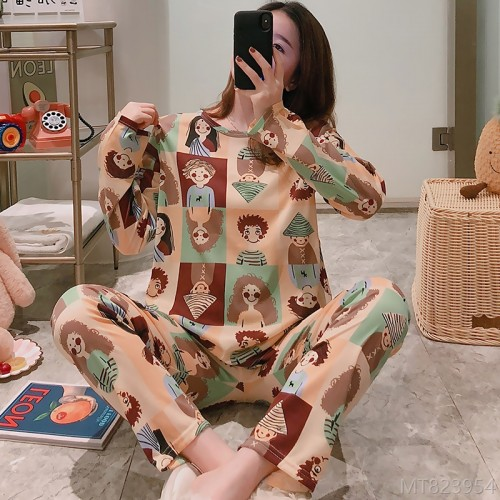 2020 new long sleeve cartoon character pajamas women's suit milk silk
