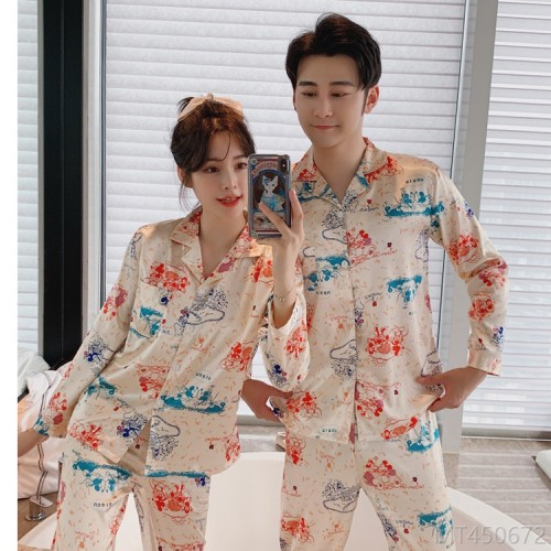 2020 new long-sleeved printing suit ice silk loose Korean silk