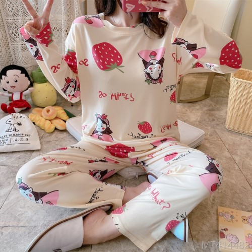 2020 new long-sleeved smiling girl pajamas women's suit milk silk