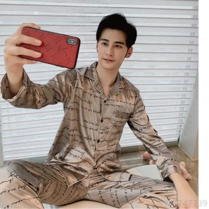 2020 new silk men's singles ice silk lapel long sleeve home wear pajamas two