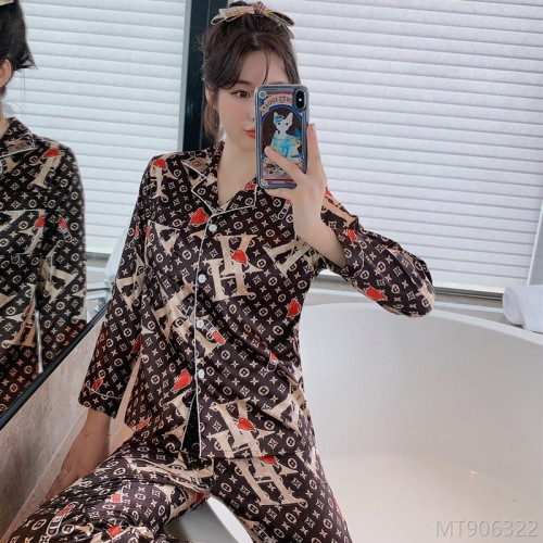 2020 new pajamas cartoon simple casual printing silk home