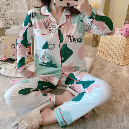2020 New Fashion Cardigan Long Sleeve Pajamas Home Wear Set