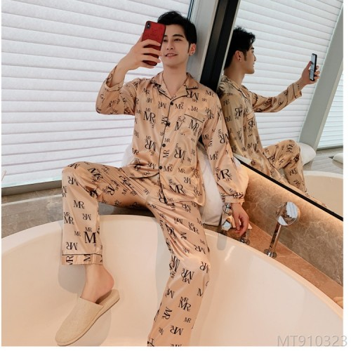 2020 new silk men's singles ice silk lapel long sleeve home wear pajamas