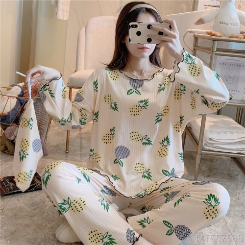 2020 new pajamas, casual cartoon printing, cloth bag milk silk