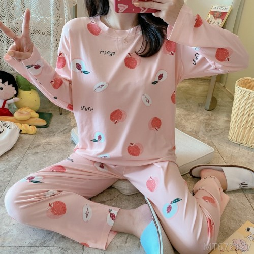 2020 new peach pajamas women's suit milk silk