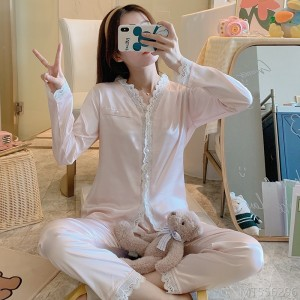 2020 new silk pajamas women's spring and autumn cardigan double long suit lace