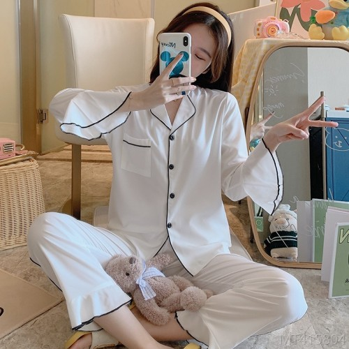 2020 new pajamas women's spring wall cotton double long cardigan set