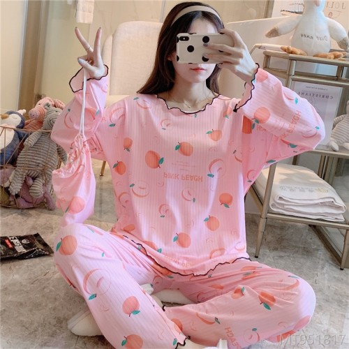 2020 new student pajamas, casual cartoon printing, cloth bag milk silk pit