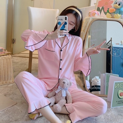 2020 new pajamas Huaer cotton double long cardigan cover