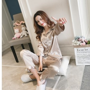 2020 new solid color silk women ice silk lapel long sleeve home wear pajamas