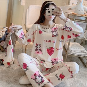 2020 new pajamas casual cartoon printing cloth feeding bag milk silk pit