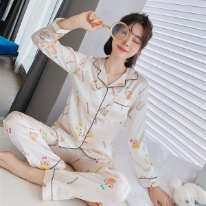 2020 new pajamas cartoon simple casual printing imitation silk home