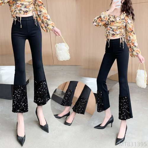 2020 new Korean version of high elastic heavy industry stitching slimming micro-flared pants women