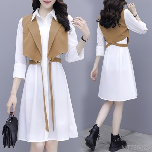 2020 new long sleeve vest skirt two-piece small shirt dress