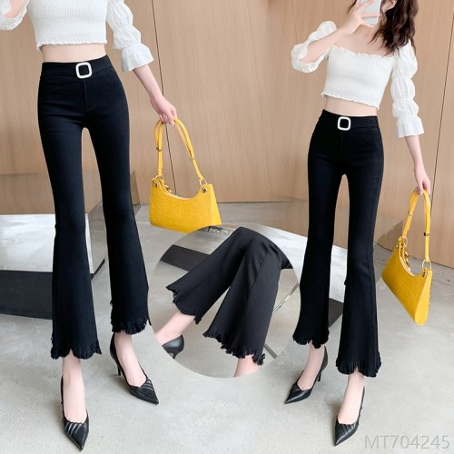 2020 new Korean version of high elastic outer wear nine-point slimming micro-flared pants
