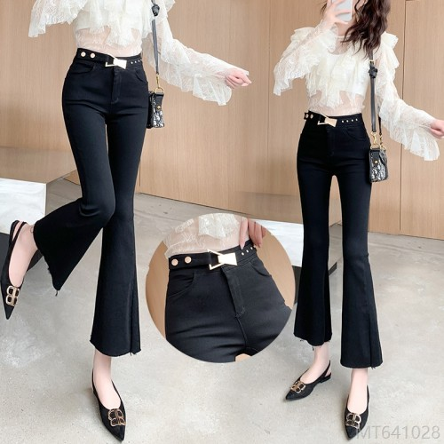 2020 new fashion Korean version of high elastic heavy industry decoration slimming micro flared pants