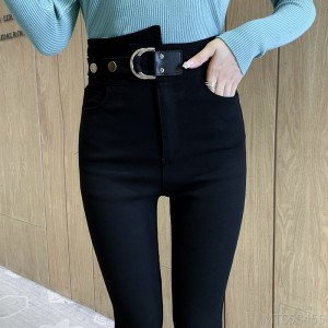 2020 new all-match high elastic leather buckle waist seal wash water tight high waist pants