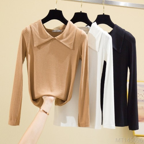 2020 new fashion high stretch big lapel collar solid color bottoming shirt women long sleeve t-shirt
