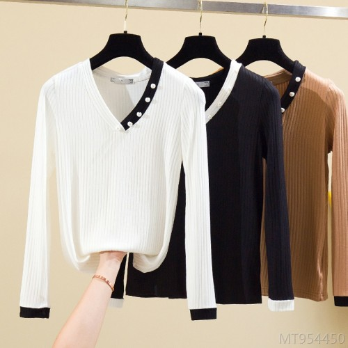 2020 new high stretch inner wear long-sleeved V-neck ladies t-shirt bottoming shirt