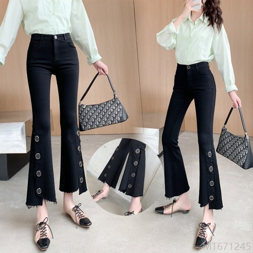 2020 new Korean version of high-elastic heavy-duty button slim micro-flared pants