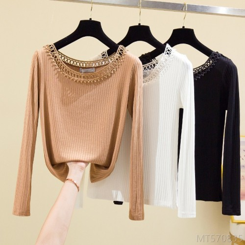 2020 new solid color bottoming shirt women's high stretch long-sleeved top T-shirt often