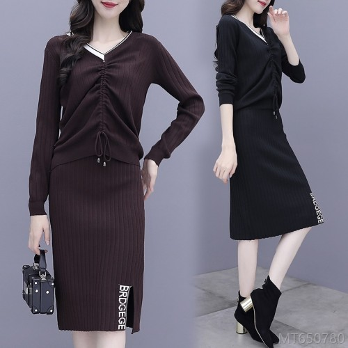 2020 new sweater bag hip skirt two-piece western suit skirt