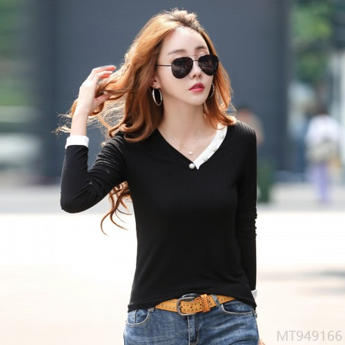 2020 new high stretch beaded bottoming shirt women long sleeve T-shirt