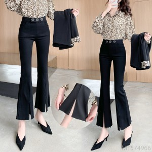 2020 new Korean version of high-elastic heavy-duty split-end slim micro-flared pants women