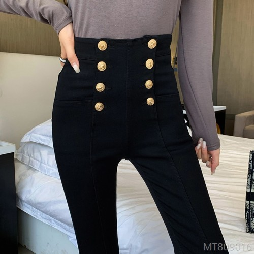 2020 New Double-breasted Washed Tight High Waist Pants