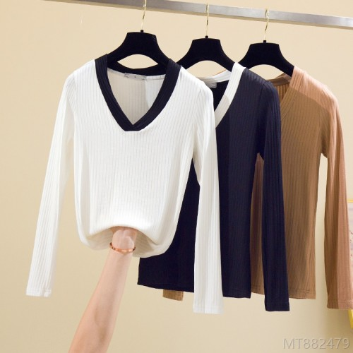 2020 new slim solid color high stretch top long sleeve bottoming shirt