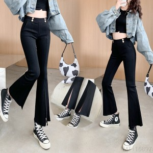 2020 new fashion Korean version of high-elastic heavy-duty slits and slim micro-flared pants